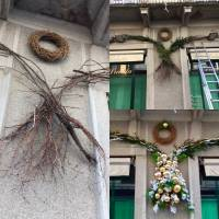 struttura in betulla per allestimento natalizio